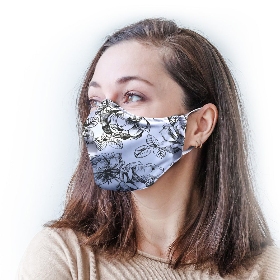 White Roses Protective Reusable Face Mask