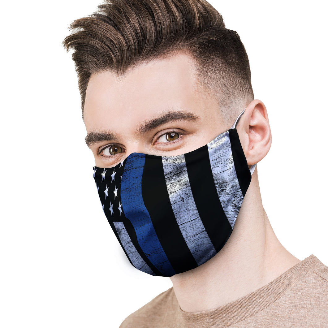 Police Blue Lives Protective Reusable Face Mask