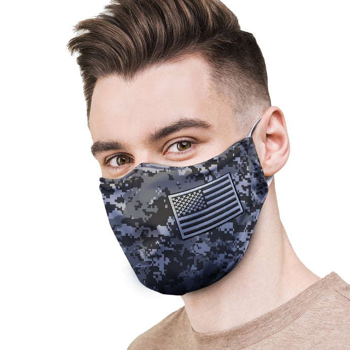 Digital Camo Flag Patch Protective Reusable Face Mask