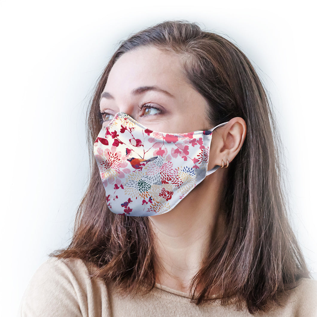 Floral Sparrow Protective Reusable Face Mask