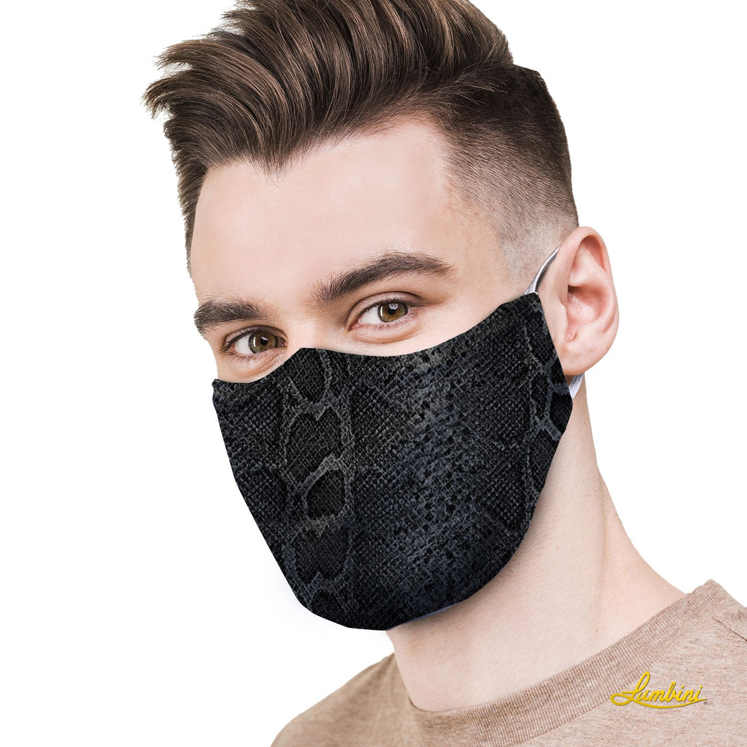 Black Snake Skin Protective Reusable Face Mask