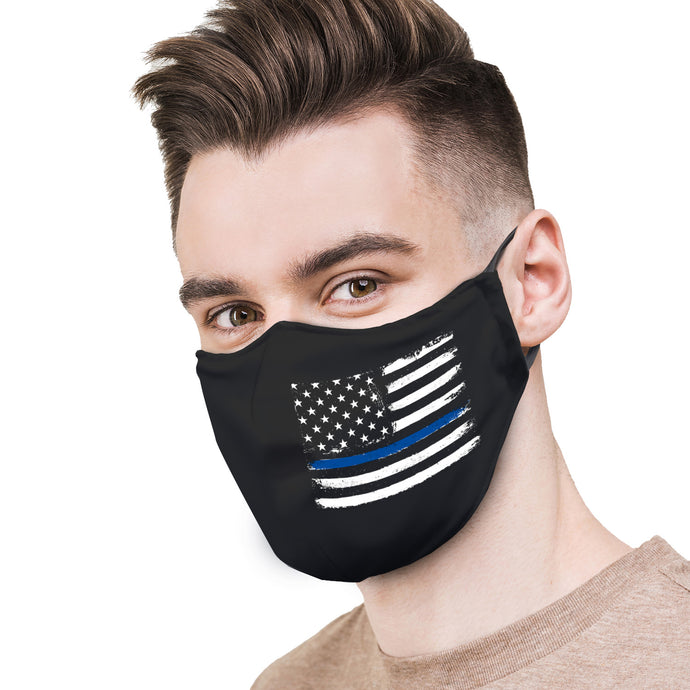 Black with Police Flag Protective Reusable Face Mask