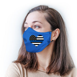 Blue with Police Flag Heart Protective Reusable Face Mask