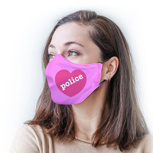 Pink with Police Heart Protective Reusable Face Mask