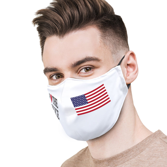 I Heart Police with Flag Protective Reusable Face Mask