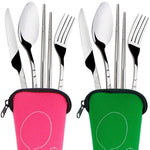 Set of Stainless Steel Fork Spoon Chopsticks Camping Tools