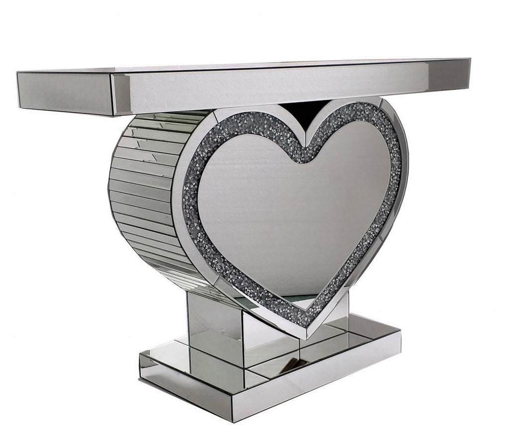 Crushed Crystal Heart Console Table