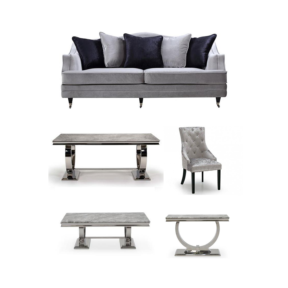 Belvedere Sofa & Arianna 1.6m Grey Dining Table & Arianna Collection Furniture Pack