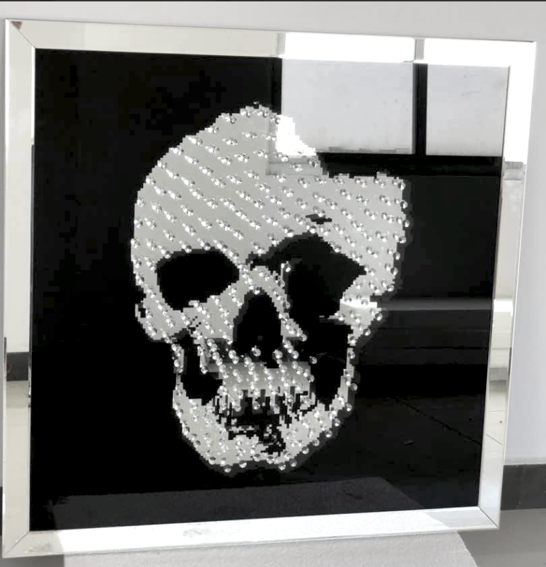 Crystal Skull Mirrored Wall Art