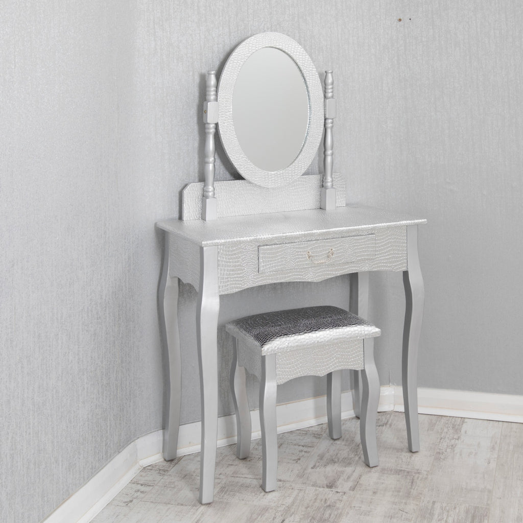 Silver Crocodile Dressing Table Set