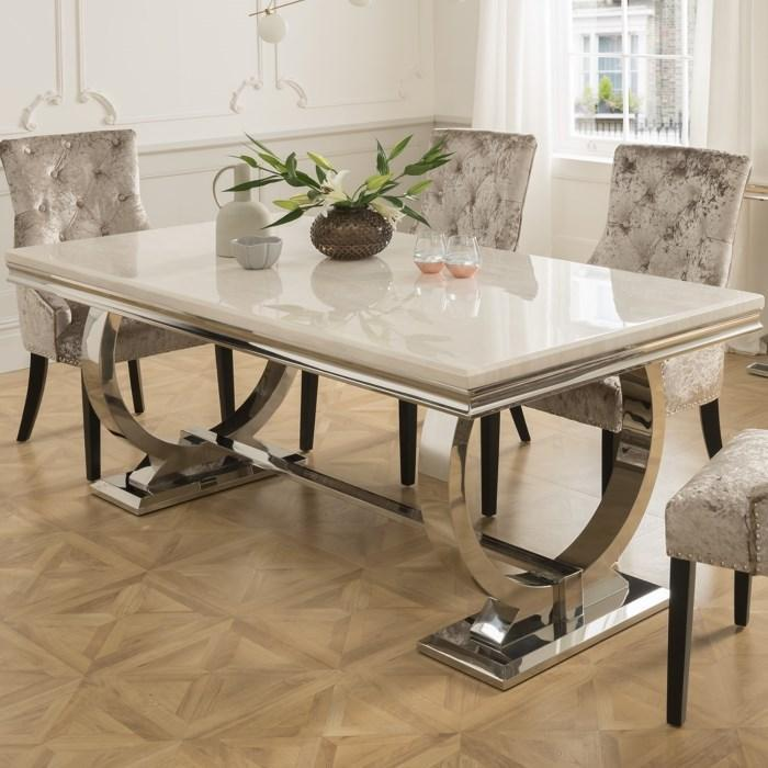 Arianna Rectangle Marble Dining Table 180cm Cream