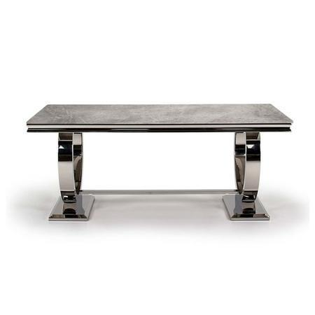 Arianna Rectangle Marble Dining Table 200cm - Grey