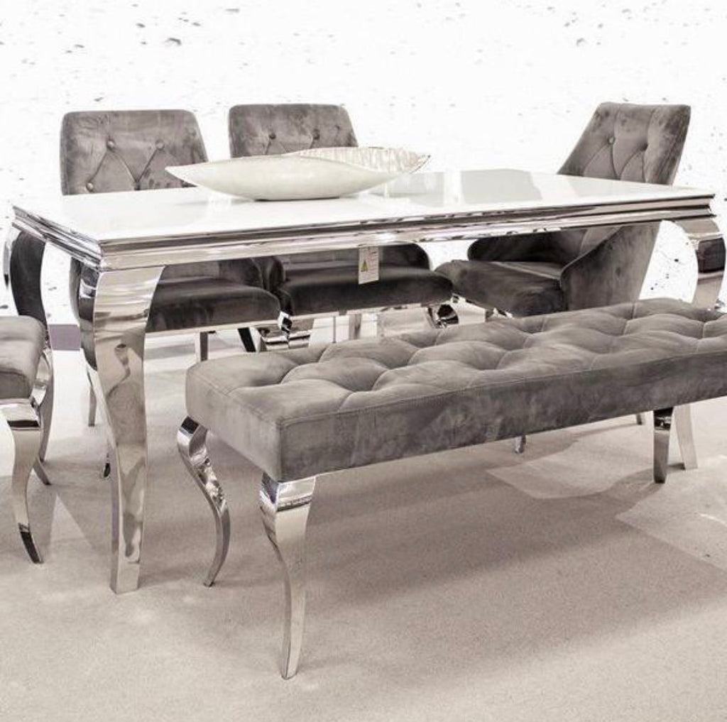 Louis 2m table 5 chairs and bench.