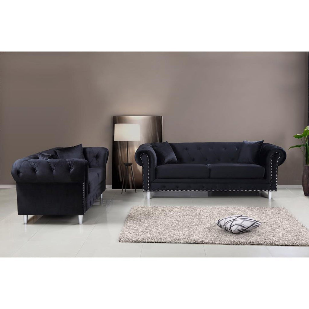 Kensington 3 & 2 Seater Sofa Set - Black