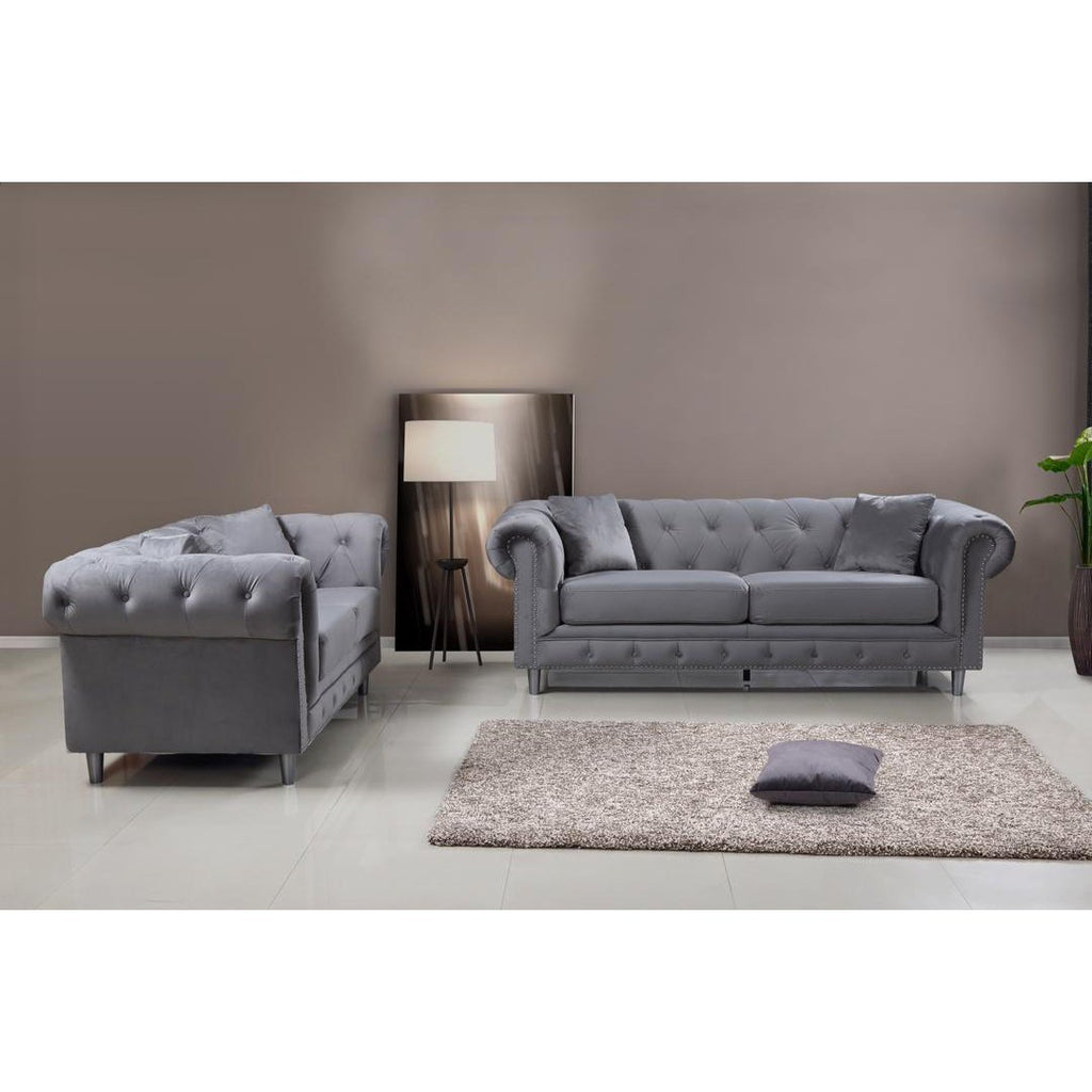 Kensington 3 & 2 Seater Sofa Set - Silver