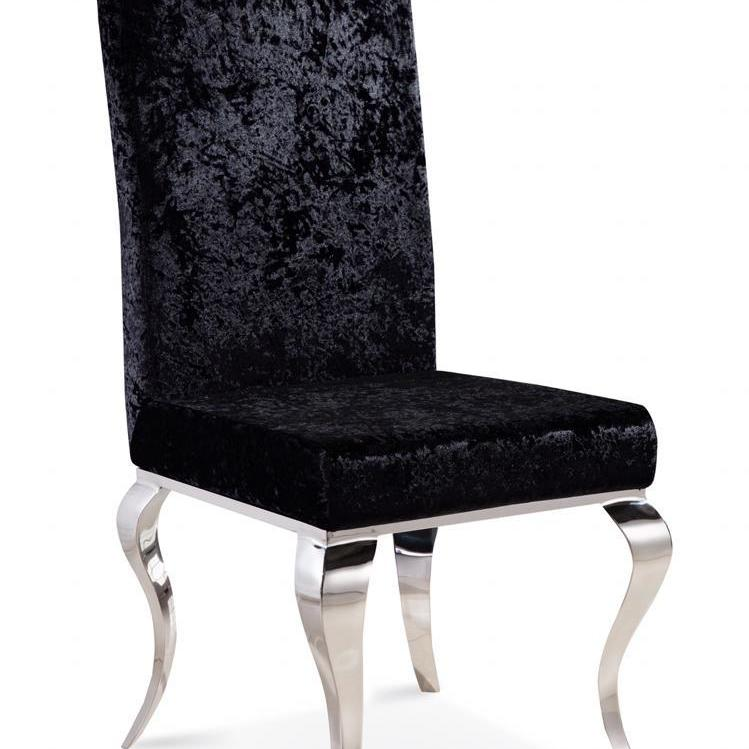 Louis Dining Chair Crushed Velvet - Black