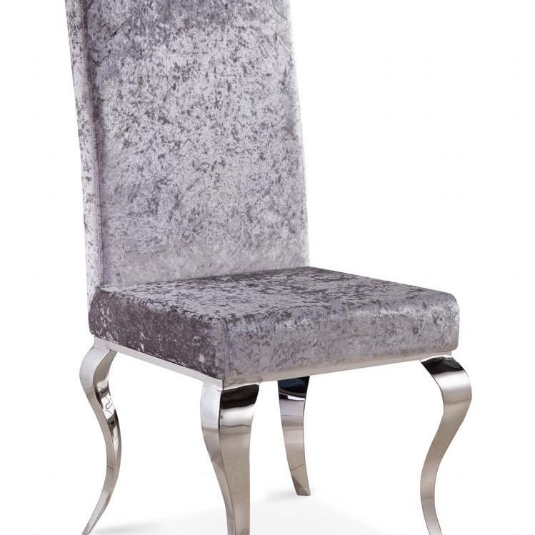 Louis Dining Chair Crushed Velvet - Silver