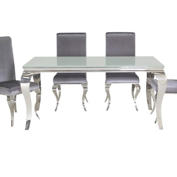 Louis Dining Table White with 4 Chairs