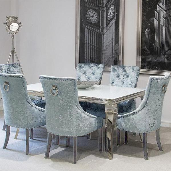 Louis Dining Table White With Pewter Knocker Back Chairs