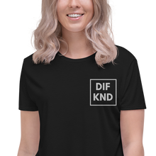 Load image into Gallery viewer, Womens Embroidered DIF KND Crop Tee
