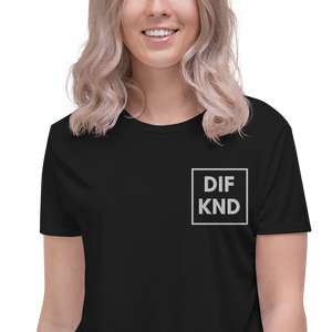 Womens Embroidered DIF KND Crop Tee