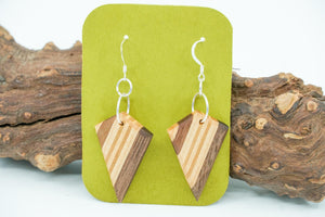 Walnut and Recycled Skateboard Earrings