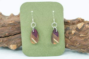 Recycled Skateboard, Walnut, and Purple Heart Earrings
