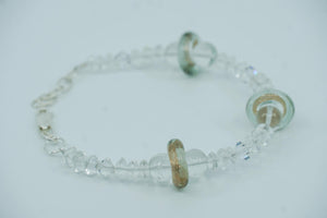 Quartz and glass bracelet
