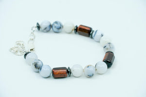 Dendrite Agate, Red Tigers Eye, and Hematite Bracelet