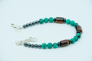 Turquoise, Red Tigers Eye, and Hematite Bracelet