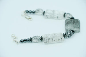 Black Tourmalated Quartz and Hematite Bracelet