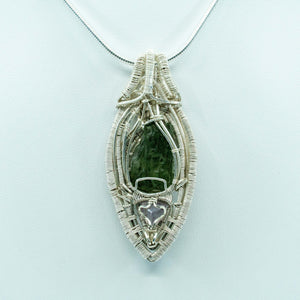 Moldavite, Amethyst, and Silver