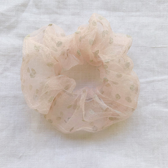 Chiffon Spotty Scrunchie - Dusty Pink