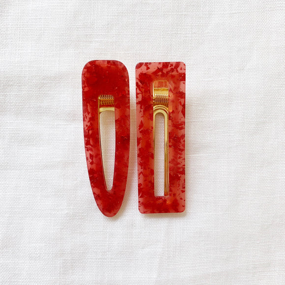 Red Glitter Hair Clips