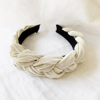 Velvet Plait Headband - Ice
