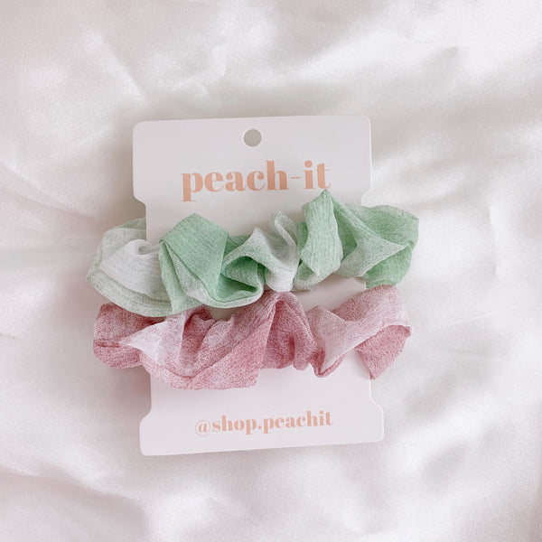Harper Scrunchie Pack - Lime/Mauve