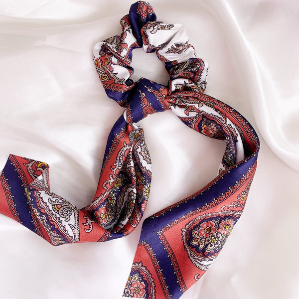 Paisley Scarf Scrunchie - Rose