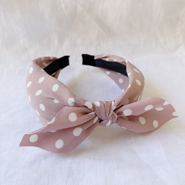 Spotty Top Knot Headband - Primrose