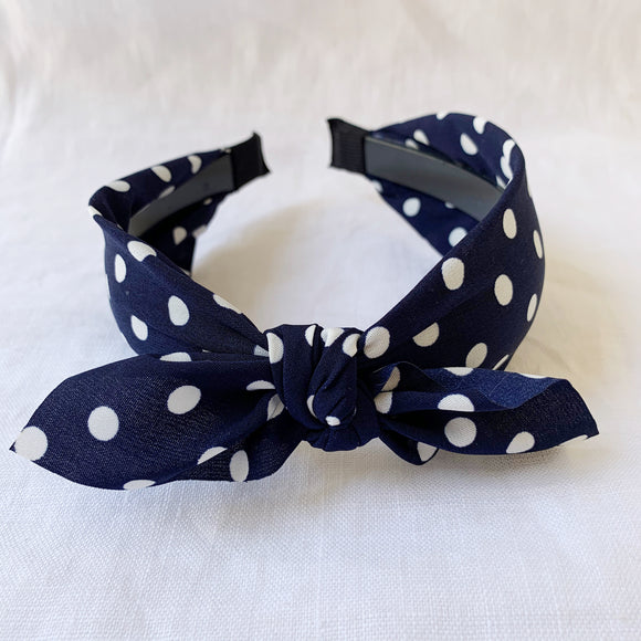 Spotty Top Knot Headband - Navy