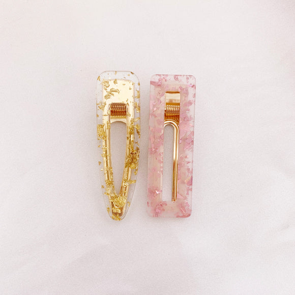 Gold / Pink Glitter Clips - Combo