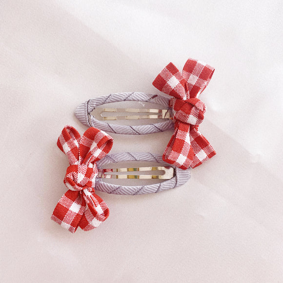 Gingham Hair Clip - Rose
