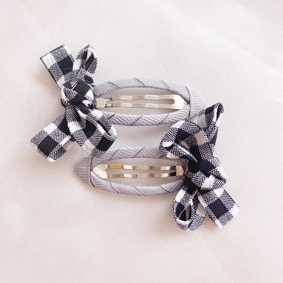 Gingham Hair Clip - Ink