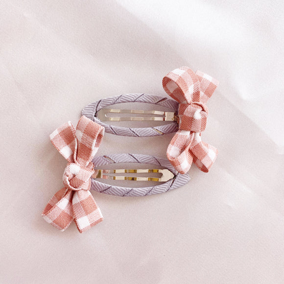 Gingham Hair Clip - Soft Pink