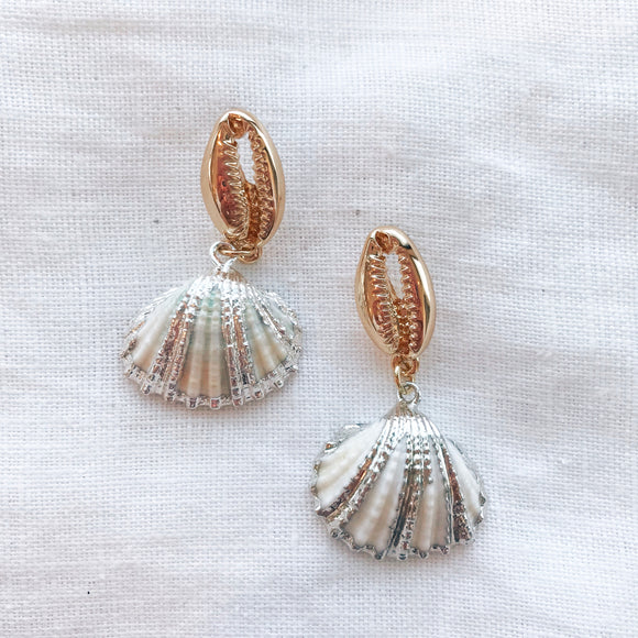 Silver Shell Drop Earring