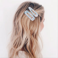 Soft Blue/Pink Hair Clips - Combo Set of 2