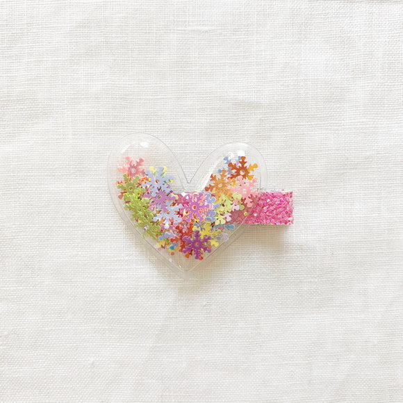 Heart Clip - Colourful Snowflake