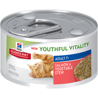 Hill's® Science Diet® Youthful Vitality Adult 7+ Salmon & Vegetable Stew Cat Food 82g - The Vet Store Online