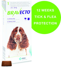 Load image into Gallery viewer, Bravecto tick and flea treatment chewable tablet for dogs - The Vet Store Online