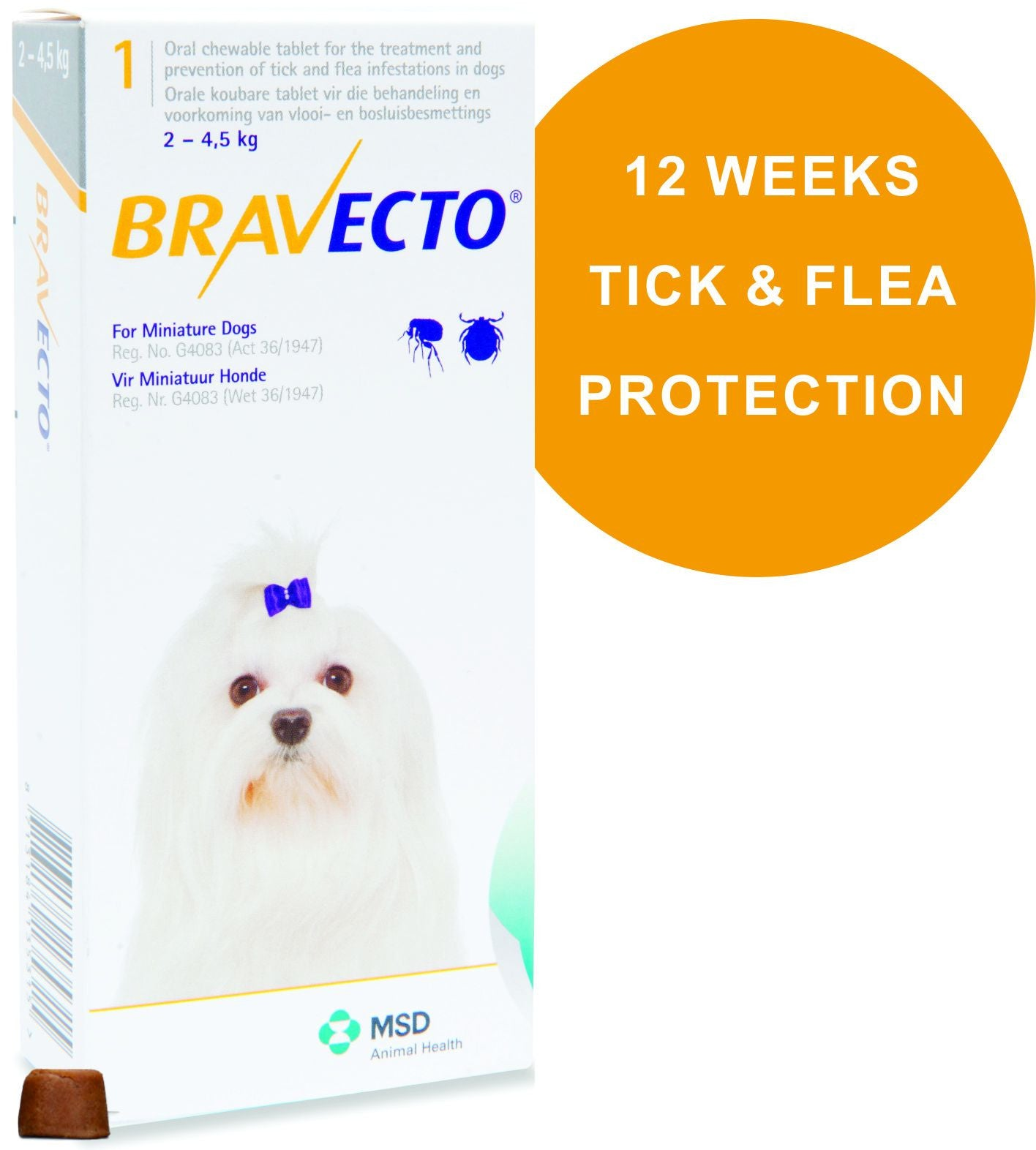 Bravecto tick and flea treatment chewable tablet for dogs