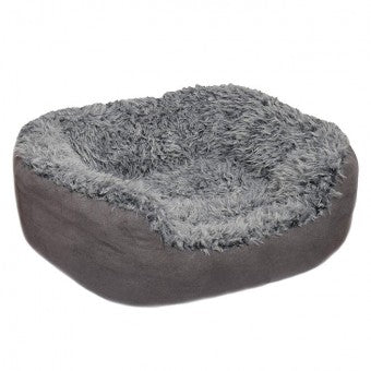 Bed Grey Lion Faux Suede Oval - The Vet Store Online